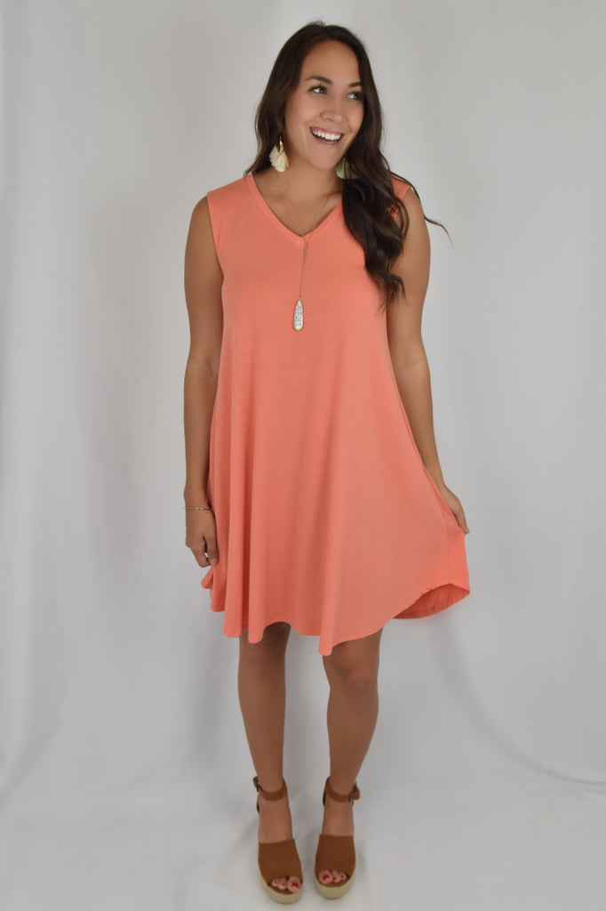 V-Neck Love So Soft Tank Dress with Pockets- Coral