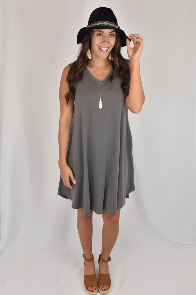 V-Neck Love So Soft Tank Dress with Pockets- Grey