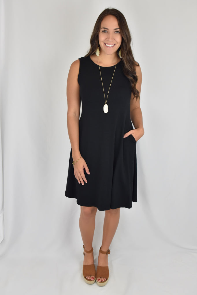 A-Line Dress with Pockets- Black