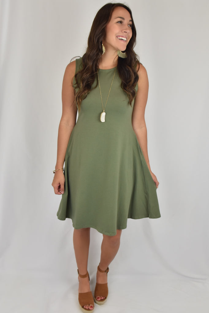 A-Line Dress with Pockets- Army Green