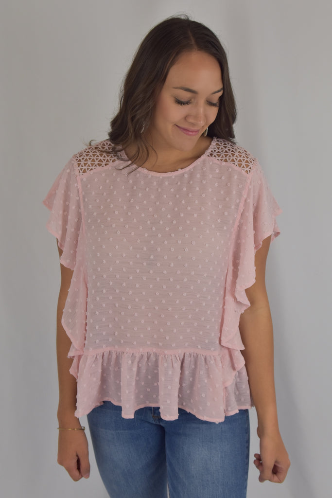 Pink Dot Ruffle Top
