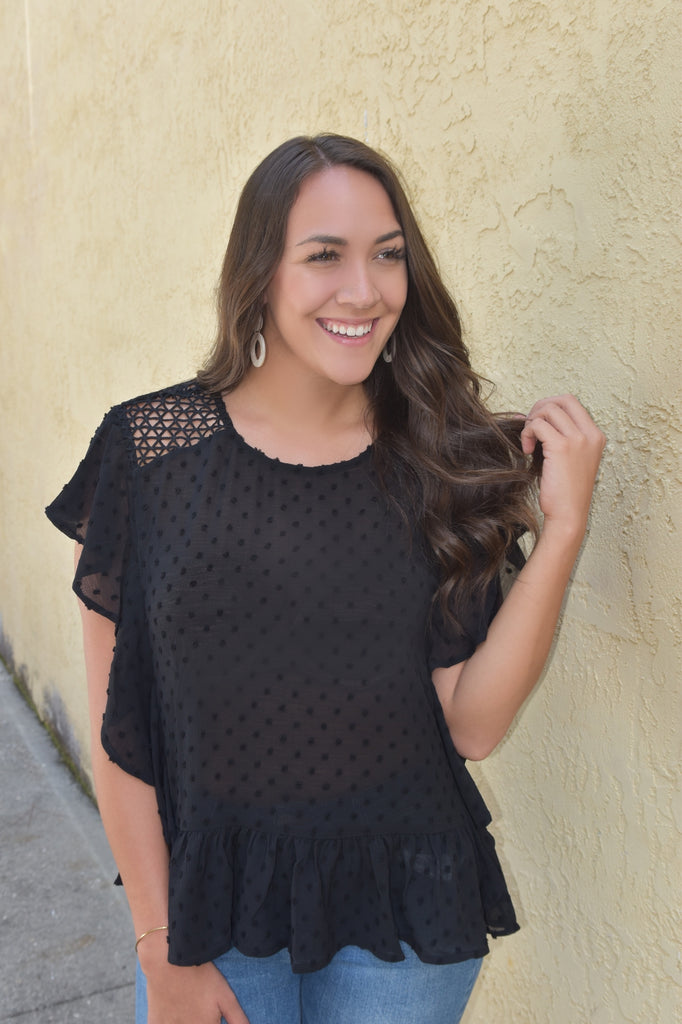Black Dot Ruffle Top