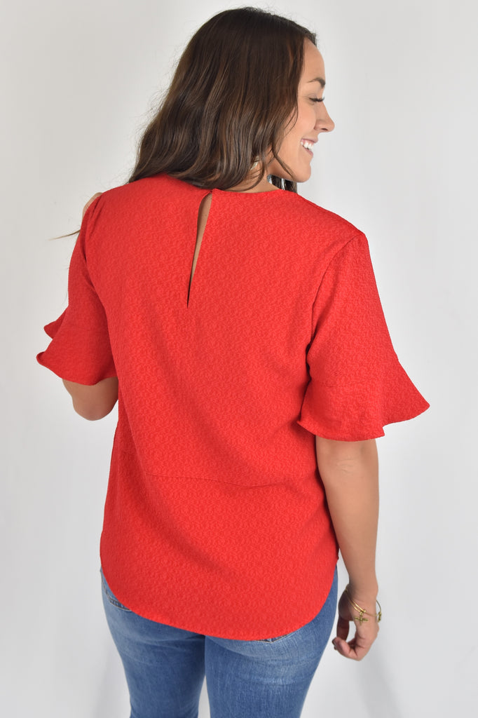 Golden Years Red Textured Top