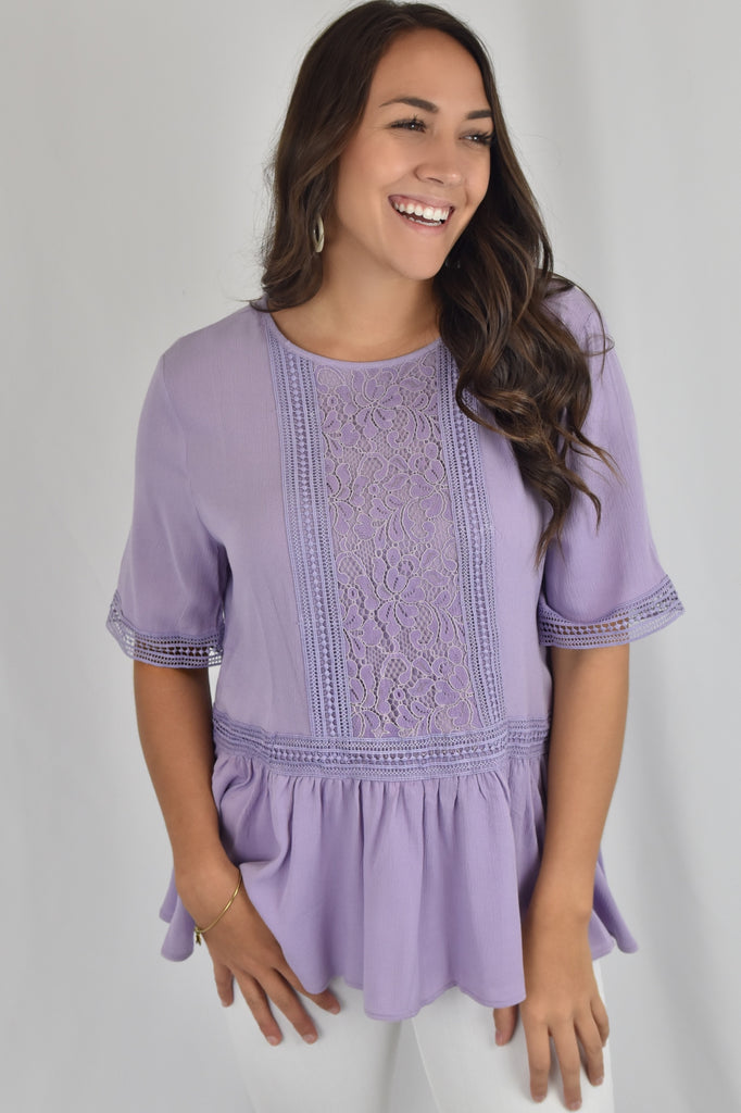 Field of Lilacs Embroidered Peplum Top