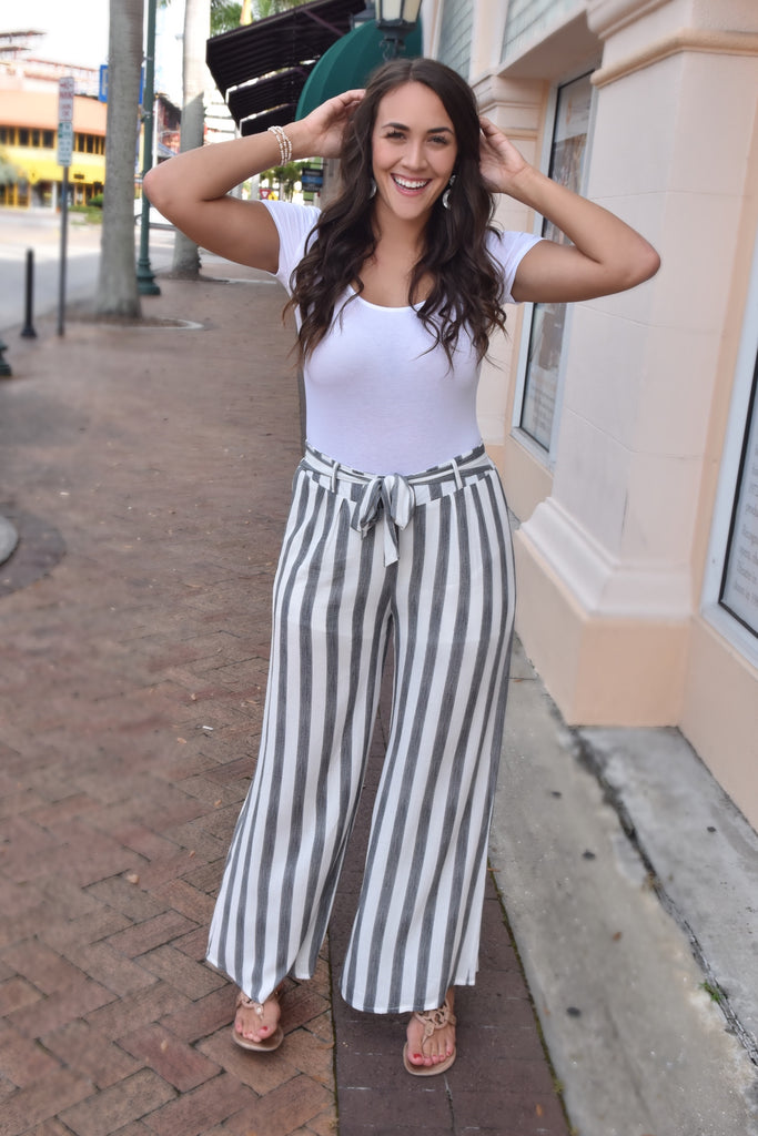 Grey & White Striped Pants with Elastic Waistband