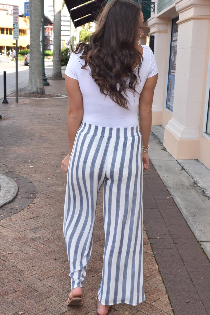 Blue & White Striped Pants with Elastic Waistband
