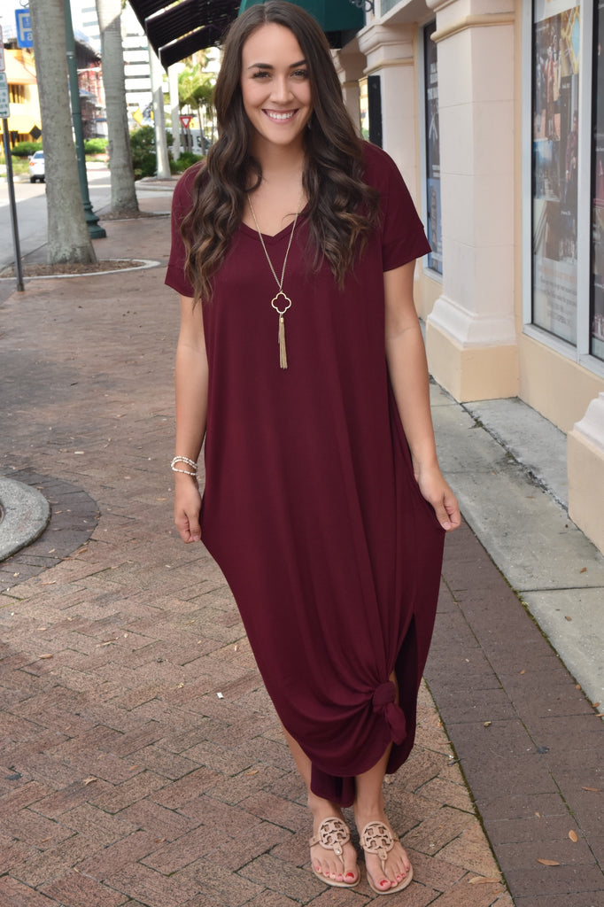 Fall Into Love Burgundy Maxi