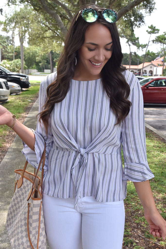 Lilac Striped Boss Babe Top