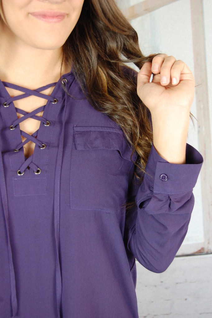 Lady Boss Lace-Up Blouse
