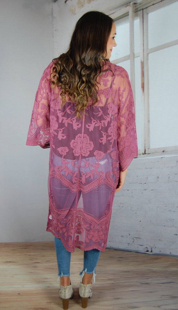 Timeless Romance Lace Duster- Deep Pink