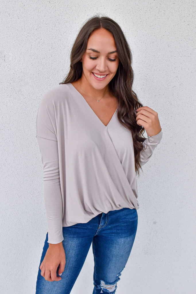 Moth Gray Crossover Top