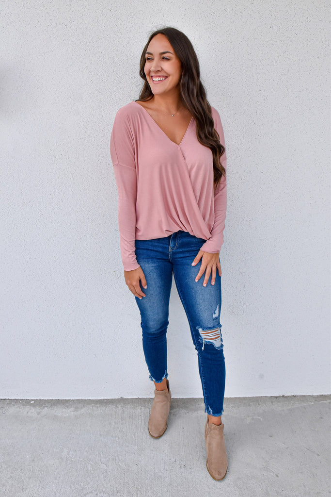 Misty Rose Crossover Top