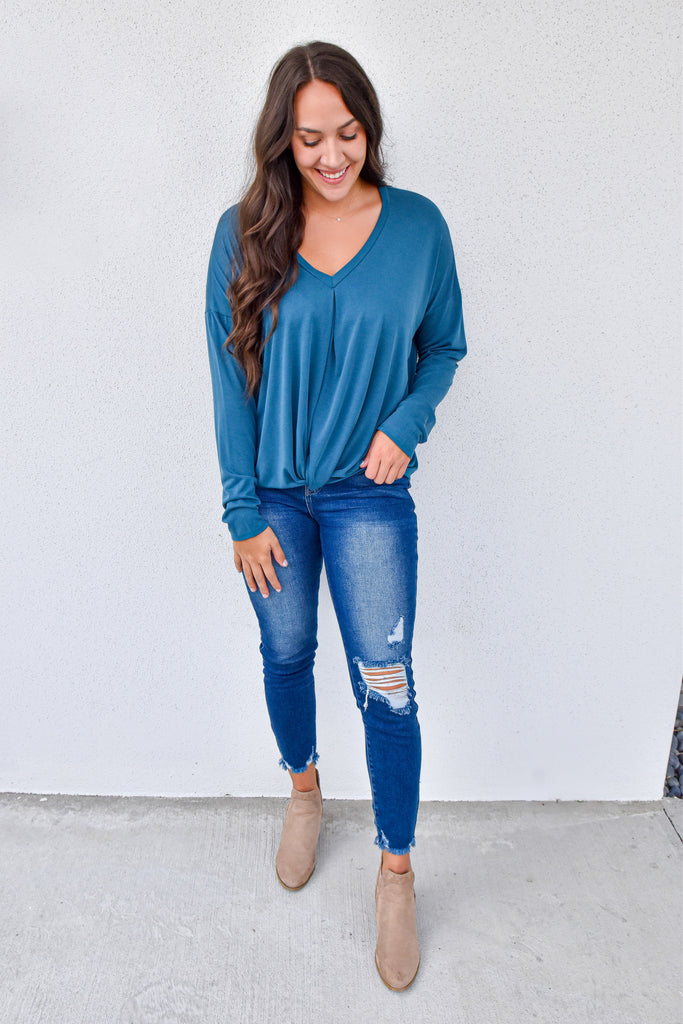 The Libby Knot Top- Teal