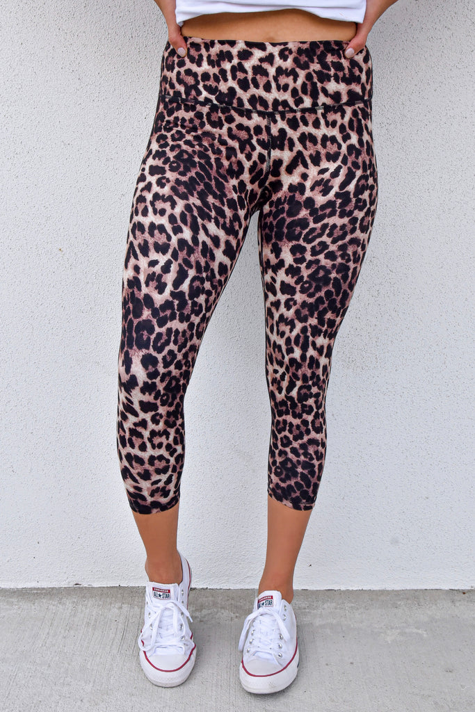 Leopard Cropped Butter Leggings- Brown