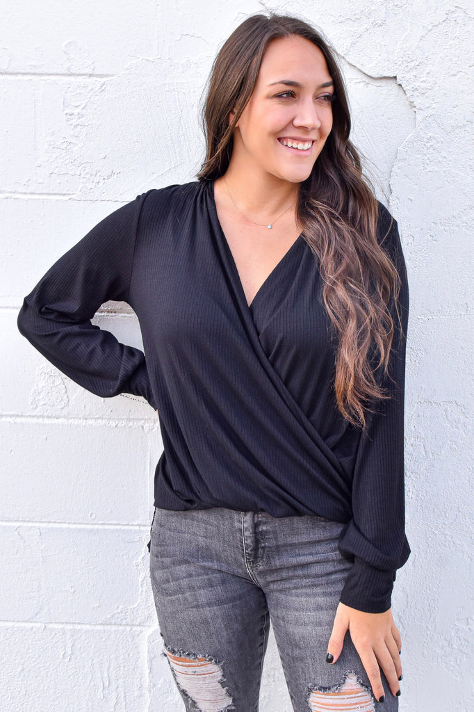 The Ribbed Crossover Top- Black