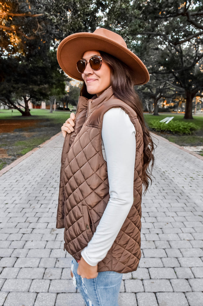 The Shea Quilted Vest- Mocha