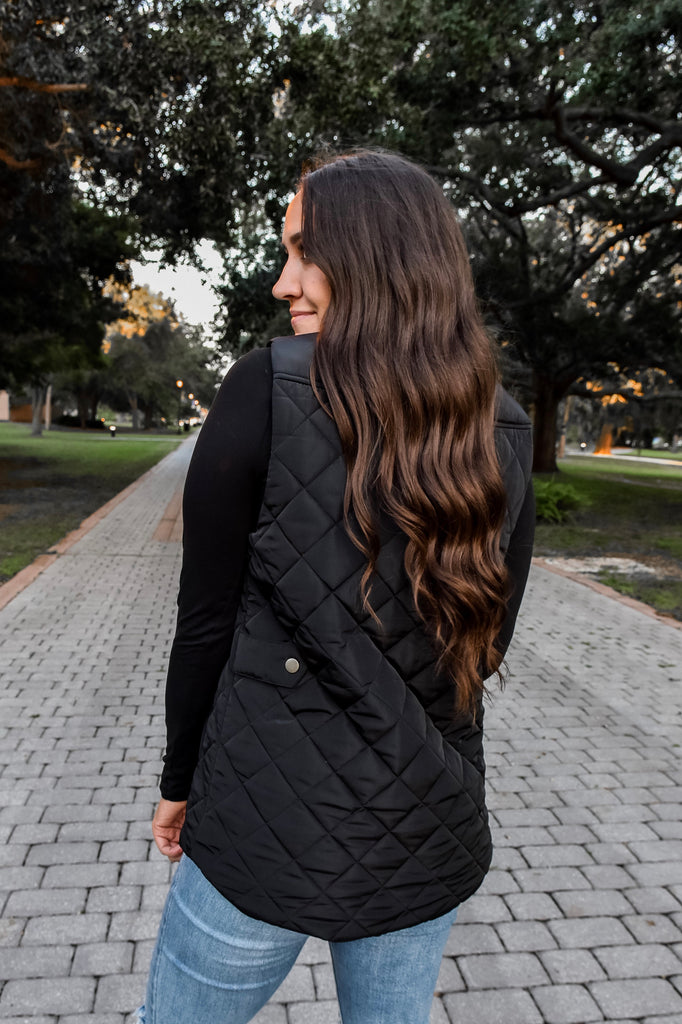 The Shea Quilted Vest- Black