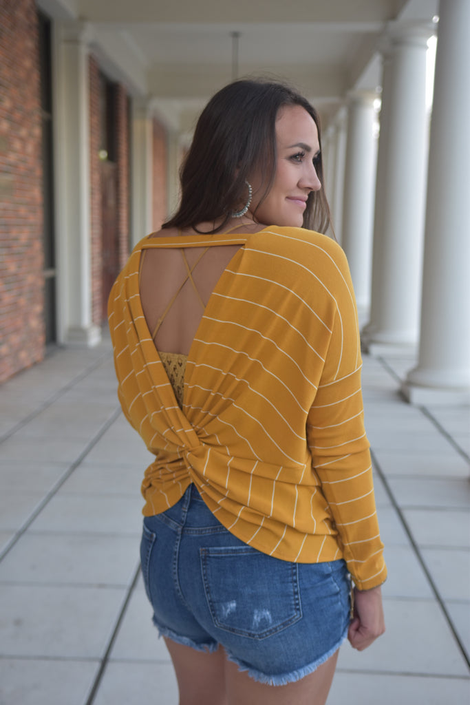 Mellow Yellow Stripe Twisted Long Sleeve