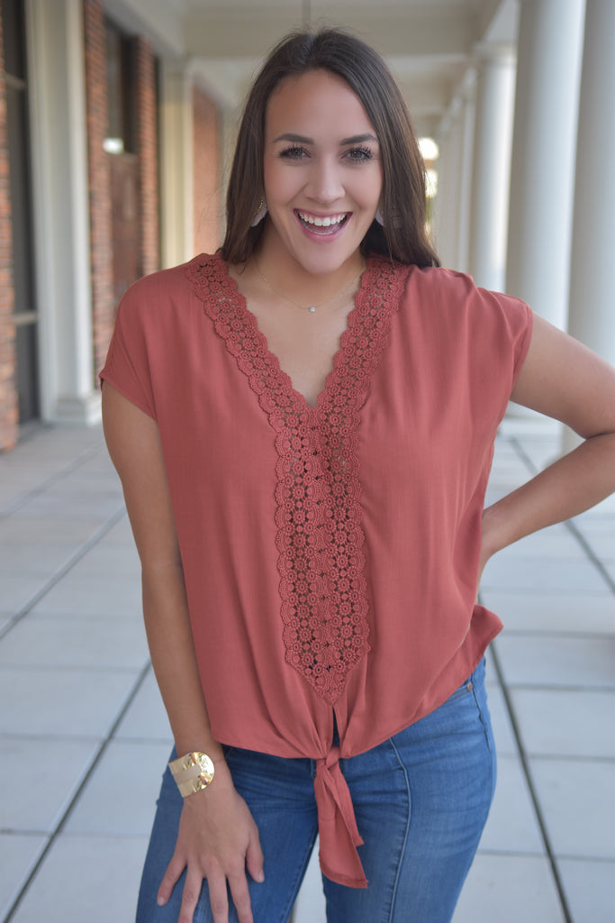 Reign Rust Front Lace Top with Tie