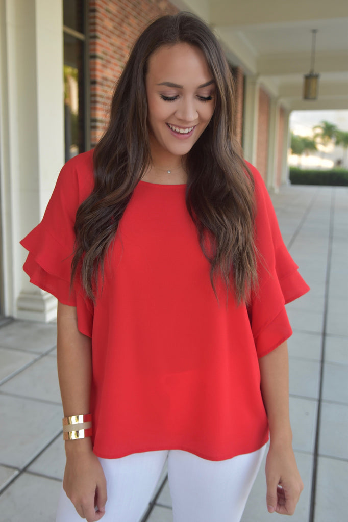 Stylish & Successful Ruffle Top- Red