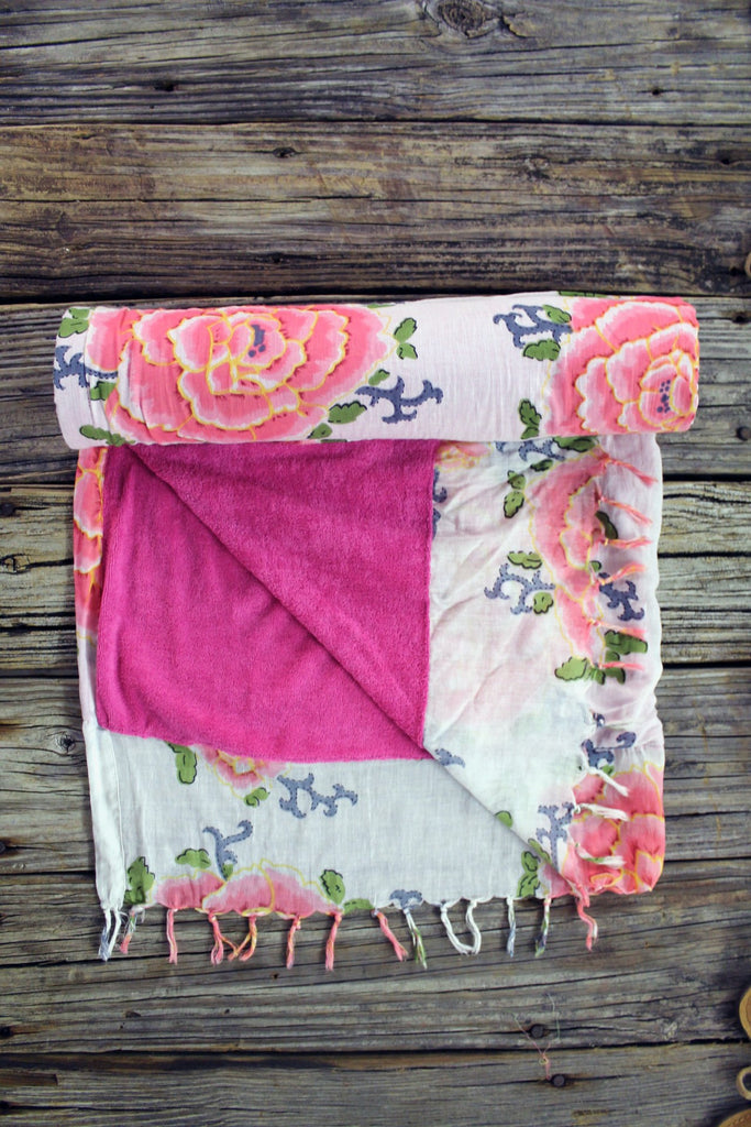Floral Print & Fringed Beach Towel Blanket