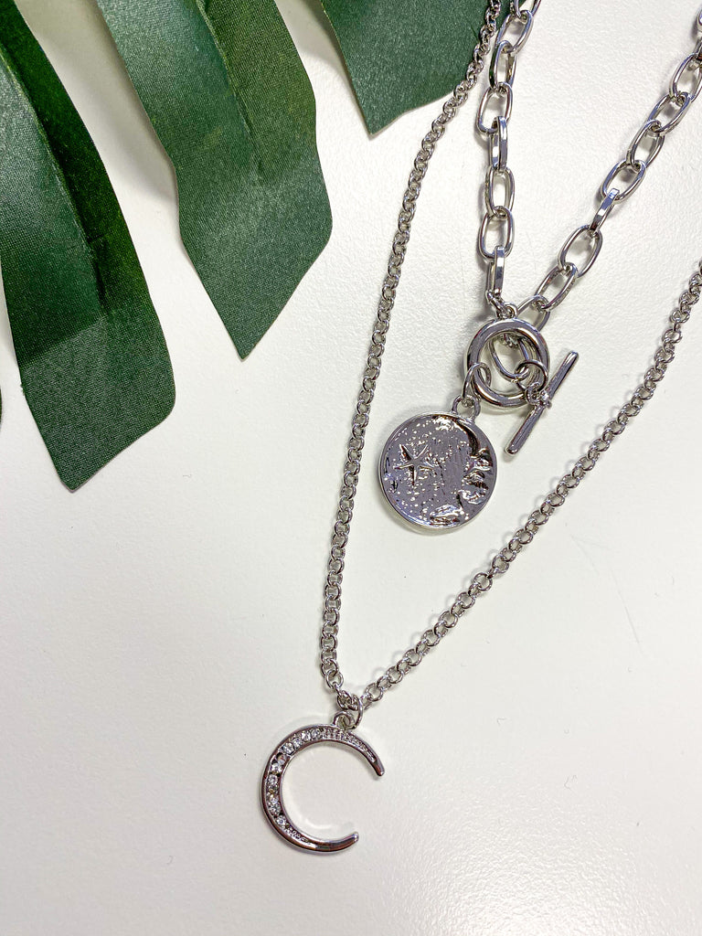 Celestial Double Coin Necklace- Silver