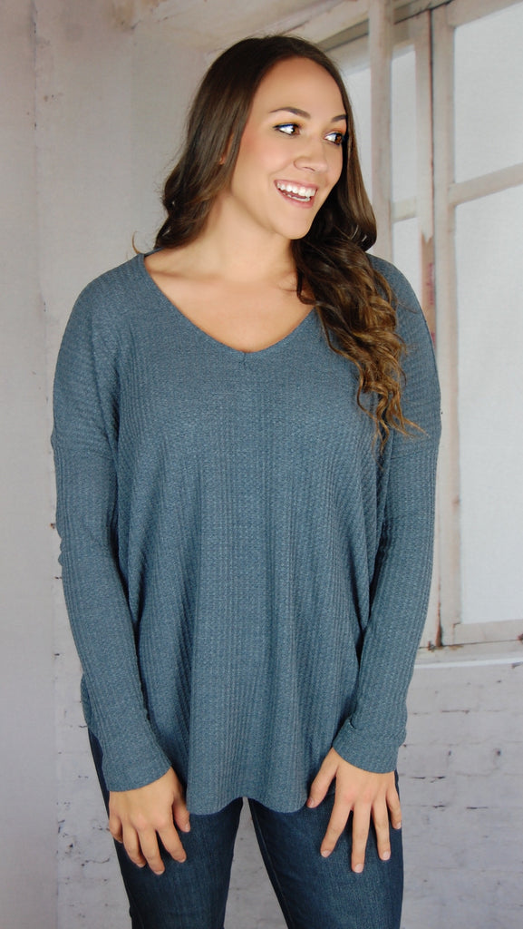 Knotted Back Long Sleeve- Light Navy