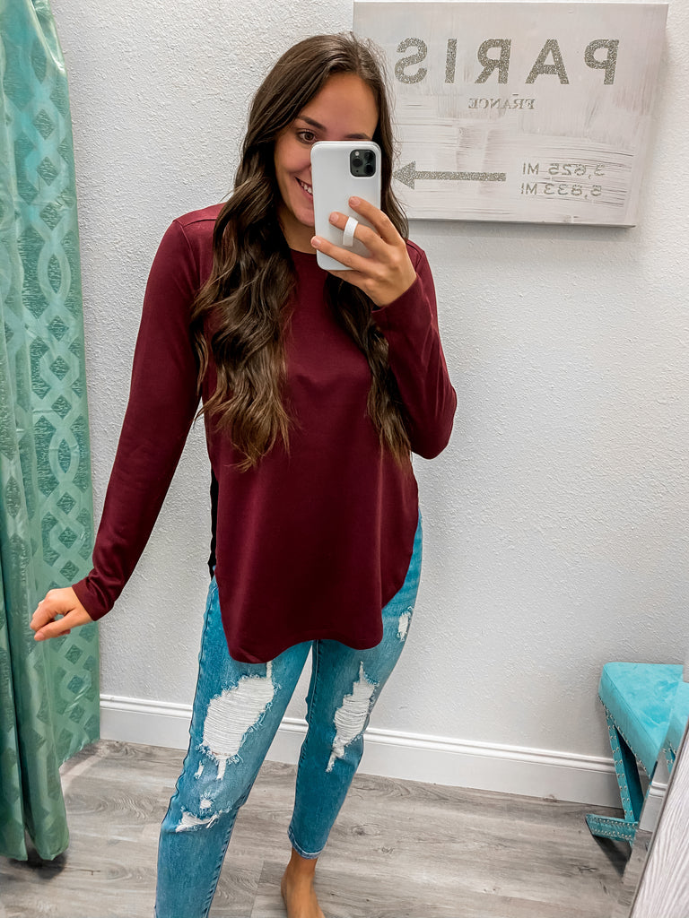 Side Slit Crewneck- Burgundy