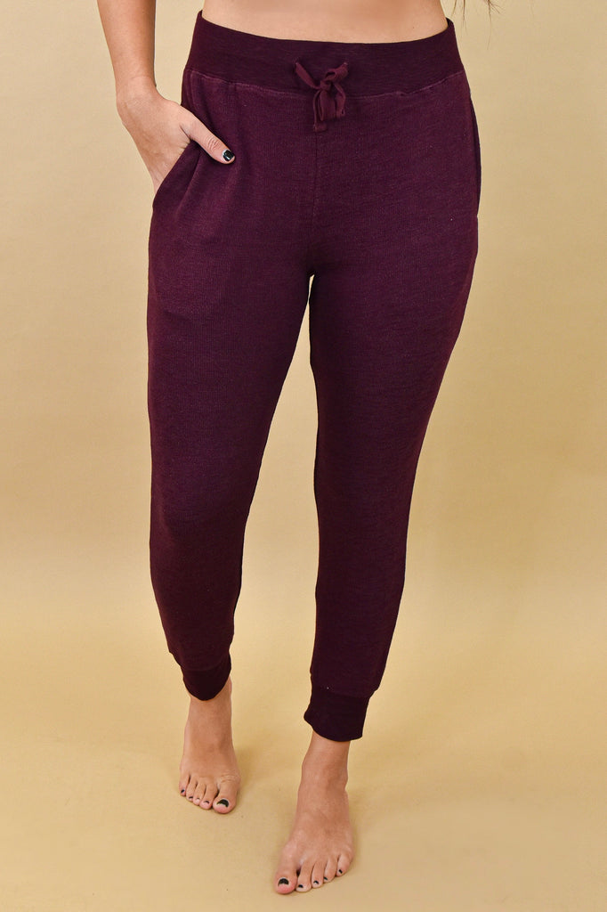 Stretchy Ribbed Joggers- Wine