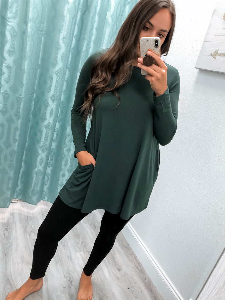 Perfect Long Sleeve with Pockets-Hunter Green