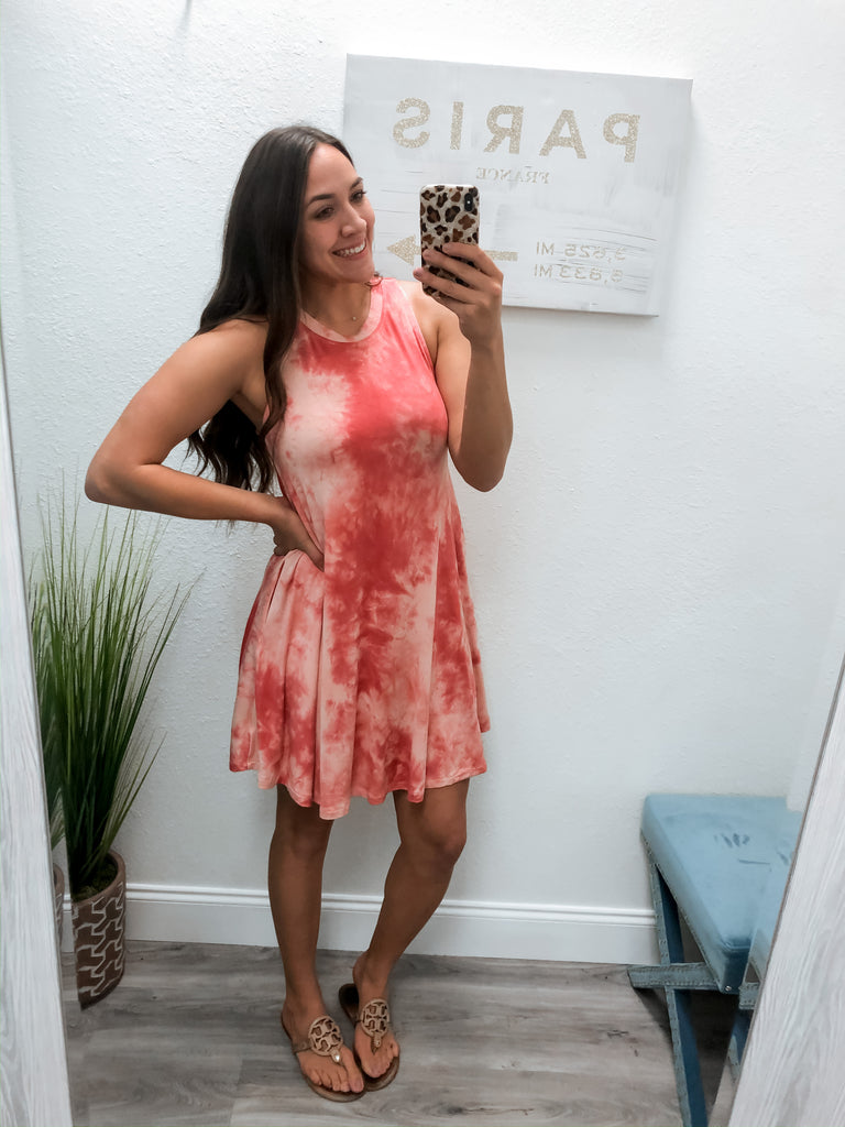 Everyday Tie Dye Tank Dress- Pink