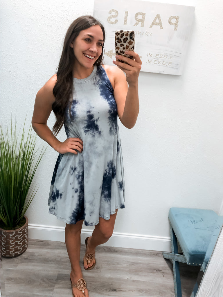 Everyday Tie Dye Tank Dress- Blue