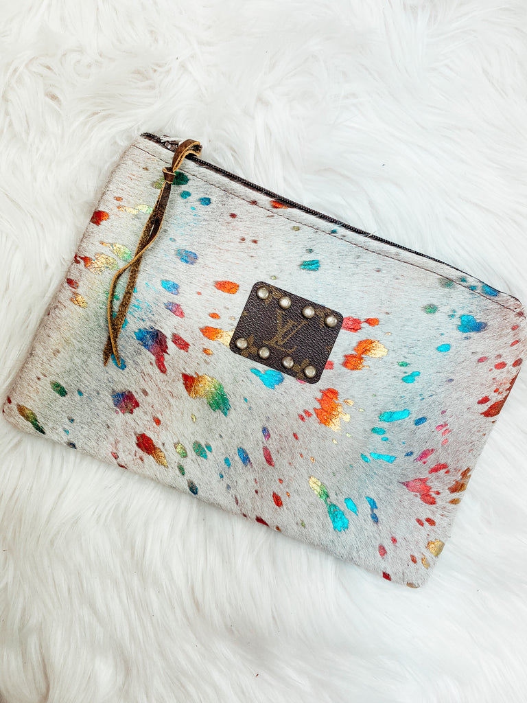 Rainbow Authentic Repurposed Louis Vuitton Clutch - Vogue Society