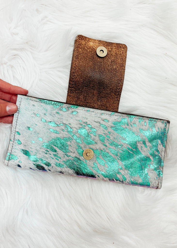 Mermaid Vibes Authentic Repurposed Louis Vuitton Clutch - Vogue Society