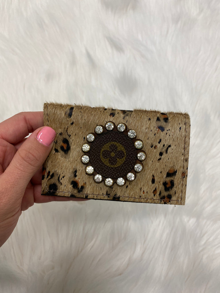 Leopard Repurposed Louis Vuitton Card Holder - Vogue Society