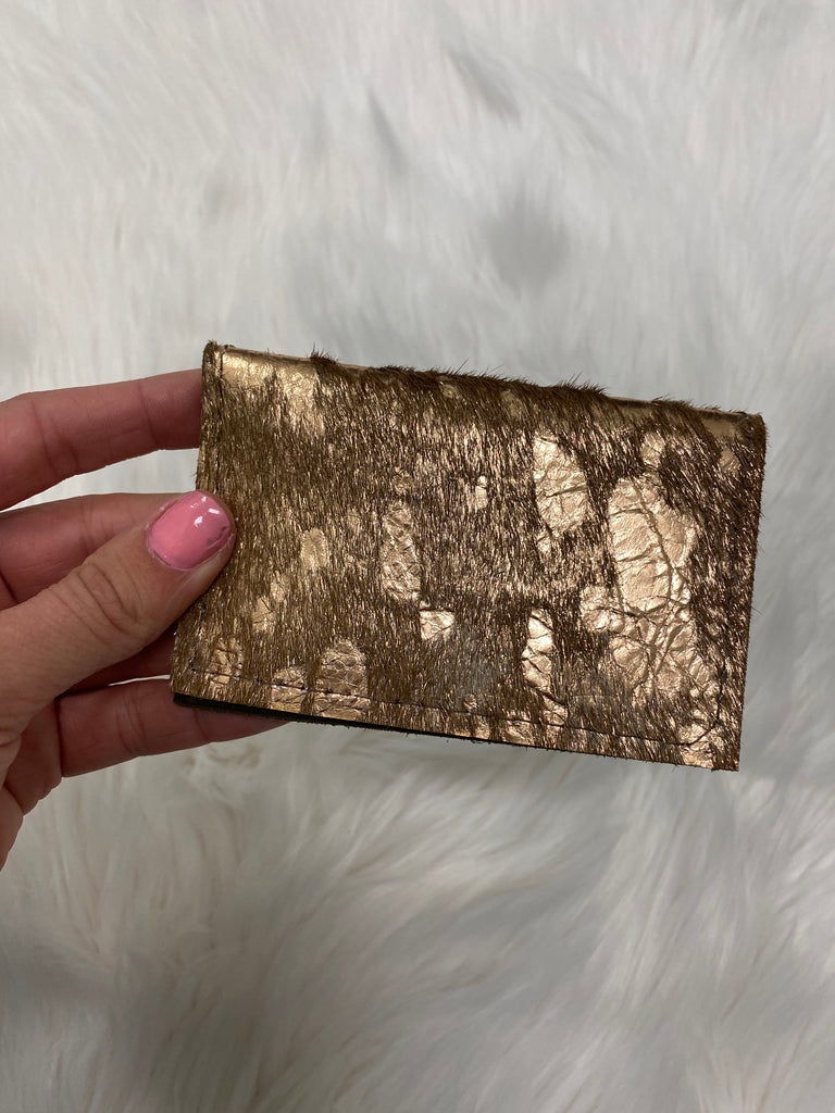 Rose Gold Cow Hide Repurposed Louis Vuitton Card Holder - Vogue Society