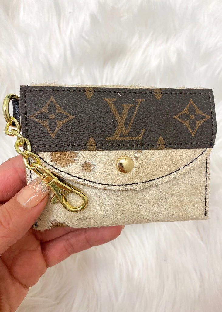 Upcycled Authentic Louis Vuitton Card Holder- Light Cow Hide - Vogue Society