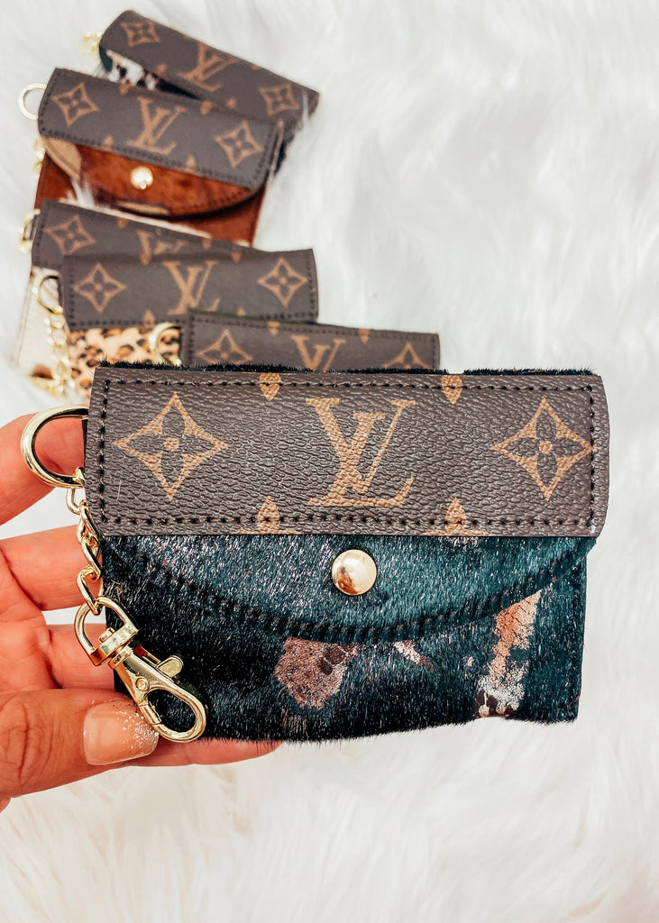 Upcycled Authentic Louis Vuitton Card Holder- Black - Vogue Society