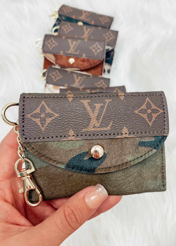 Upcycled Authentic Louis Vuitton Card Holder- Camo - Vogue Society