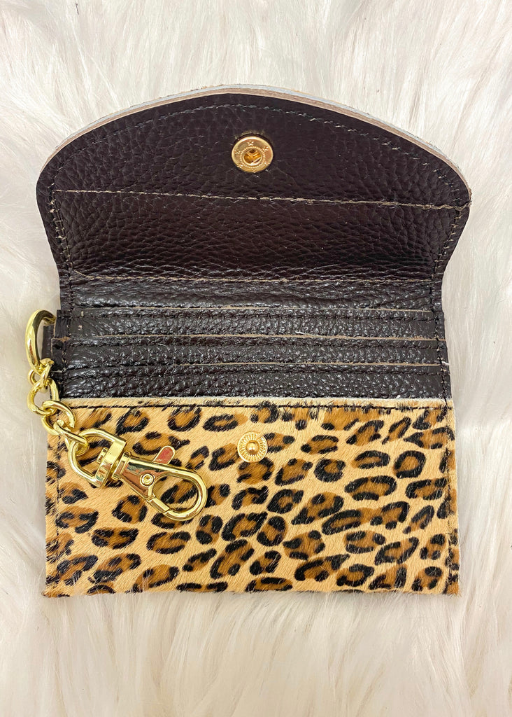Upcycled Authentic Louis Vuitton Card Holder- Tiny Leopard - Vogue Society