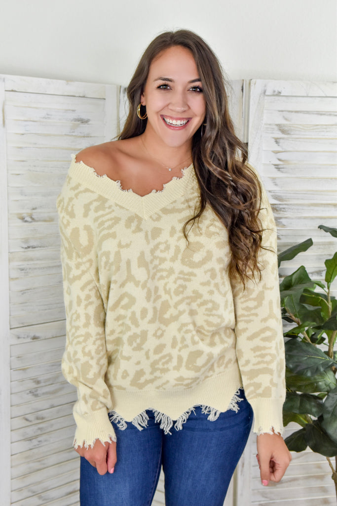 Barely There Leopard Distressed Sweater