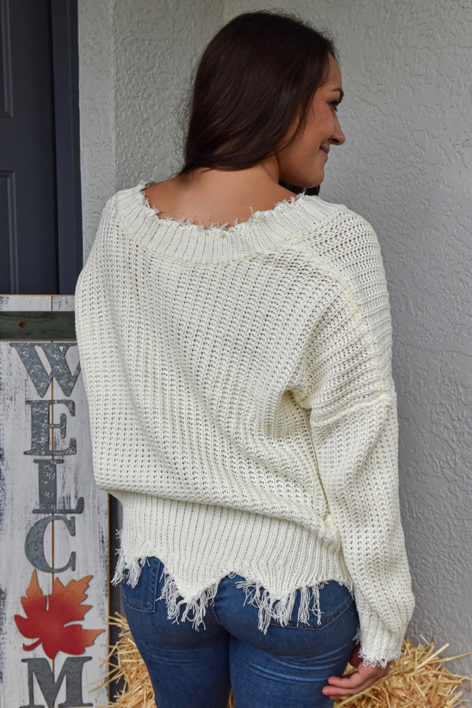 The Classic Destroyed Sweater- White