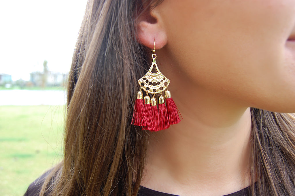 Gold Tassel Earrings- Burgundy