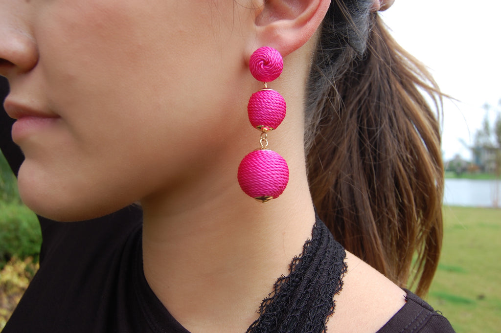 Triple Ball Earrings- Fuschia