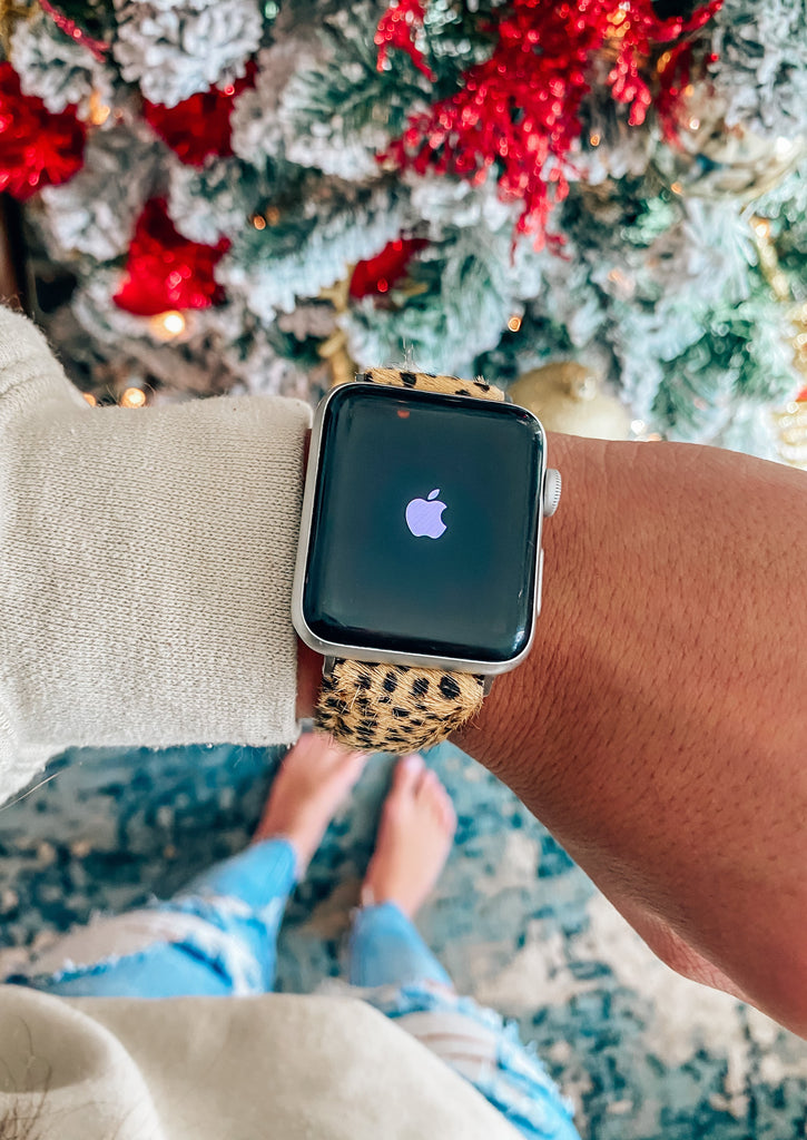 Leopard Apple Watch Band- Tan