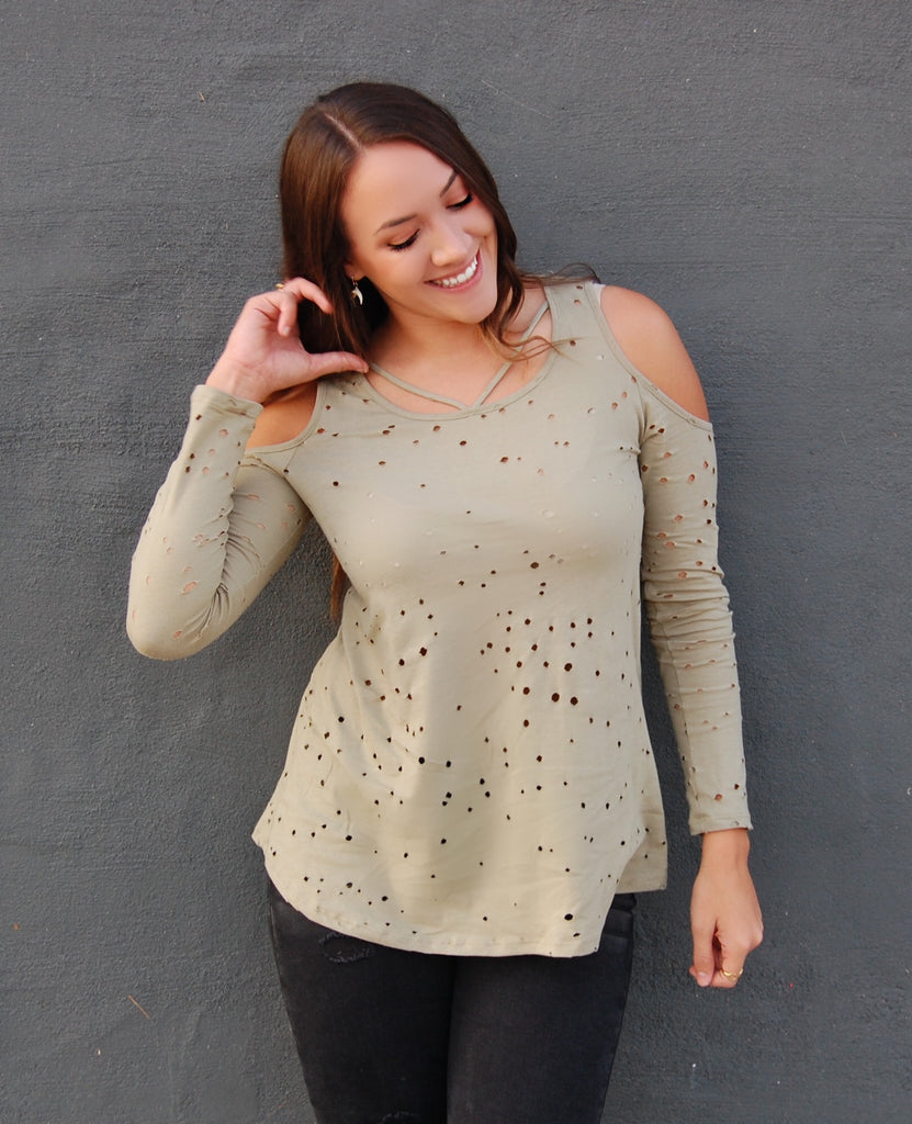 Olive Cold-Shoulder Hole Punch Top