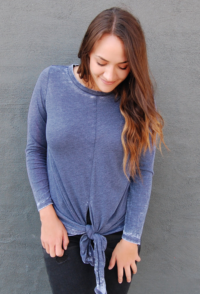 Navy Burnout Top with Knot