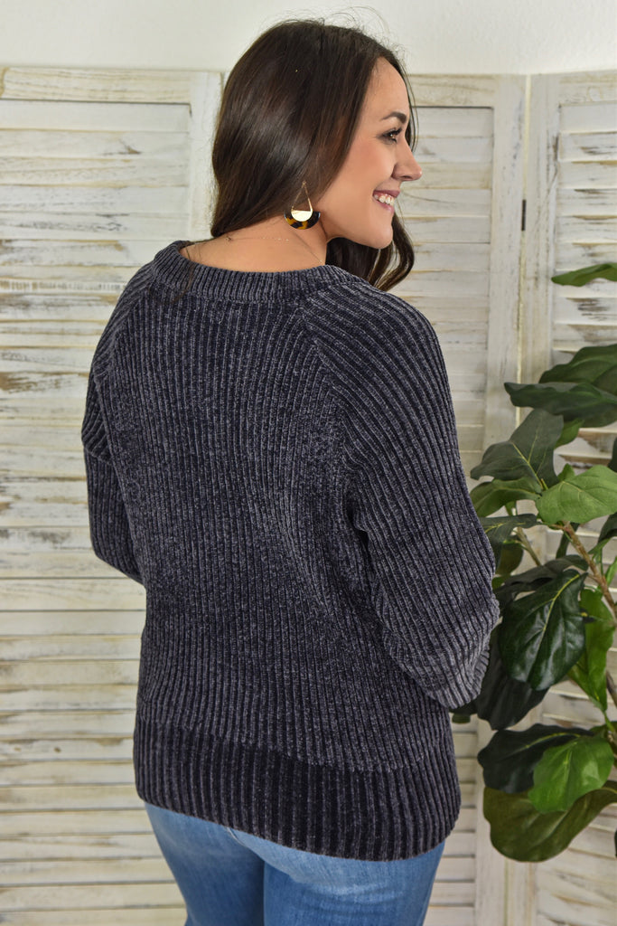 Chilly Chenille Lace-Up Sweater- Charcoal