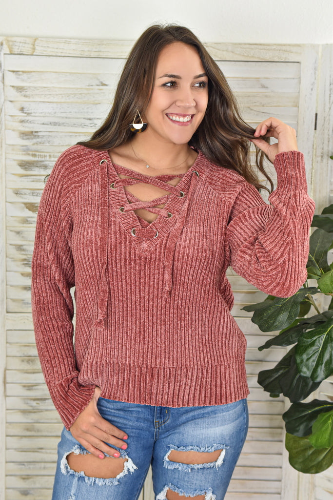 Chilly Chenille Lace-Up Sweater- Pink