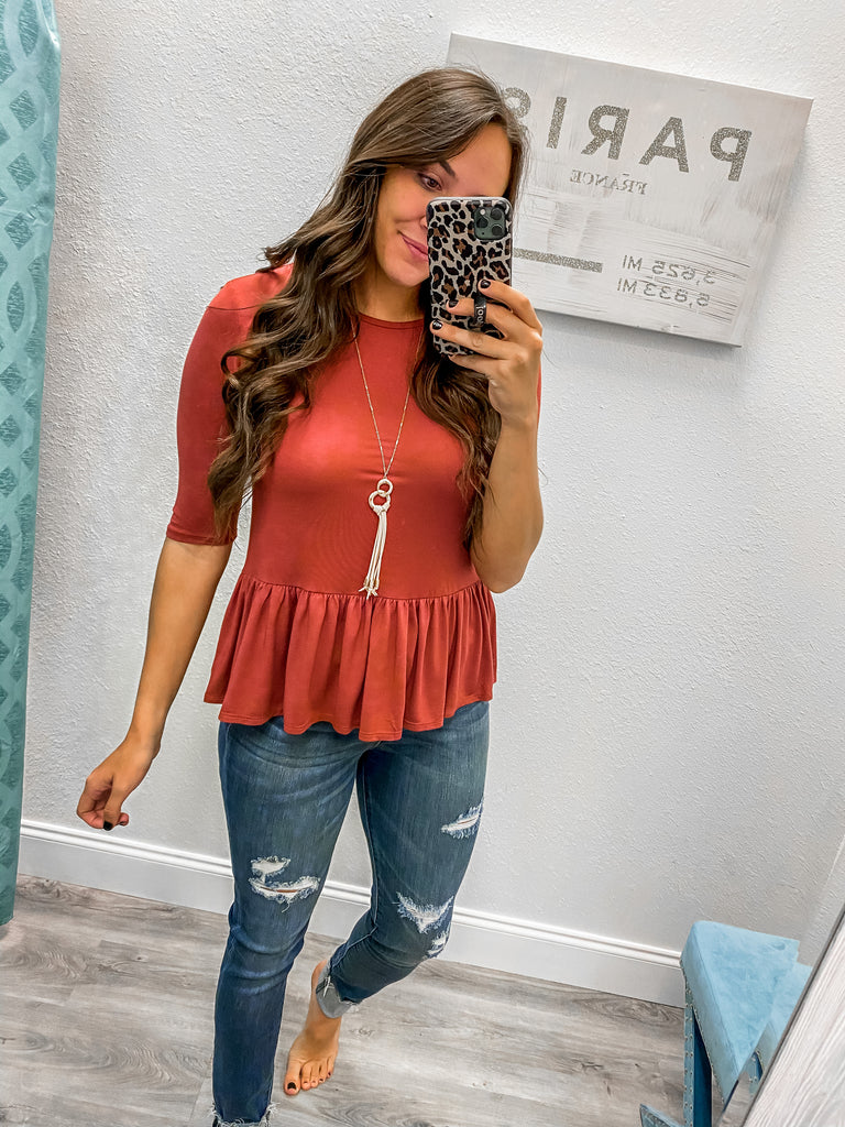 Half Sleeve Brick Babydoll Top